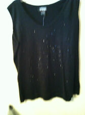 NEW...RANDOLPH DUKE..XL..TANK TOP..BLACK..COTTON BLEND..BLING TRIM