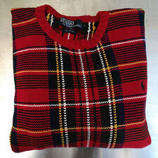 Polo Ralph Lauren Tartan Plaid Sweater Large Red