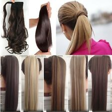 UK Seller Real Hair Wrap Around Ponytail Clip In Hair Extensions Real Human Made