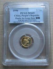 China 1996 Gold 5 Yuan Panda - Large Date. PCGS Certified MS69.
