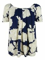 New NEXT Blue & White Floral Short Sleeve Casual Blouse Summer Size 10 - 18