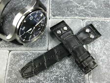 20mm Black Leather Strap Watch Band with Rivet IWC PILOT Portuguese Button 20 X1