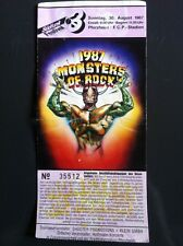 Monsters of ROCK Pforzheim 1987 Ticket, METALLICA, DEEP PURPLE, HELLOWEEN, DIO