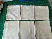 Set of 6 Vintage Damask Fabric Napkins In pale pink