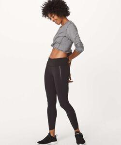 "LULULEMON Women's QUICK PACE 7/8 25"" Leggings Tight Black US4 UK8"