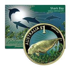 Celebrate Australia Shark Bay & Dugong $1 2010 Colored Coin on Card
