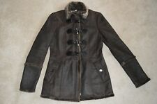 Burberry Brown Duffle & Zip Sheepskin Shearling Jacket Coat Womens UK 8 US 6