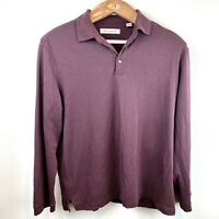Tommy Bahamas  3 Button Polo Shirt Long Sleeve Striped Maroon Black Men's Size L