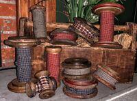 "Farmhouse Primitive Vintage FLAT Wood Spool with Homespun 4.25"" x 2"""