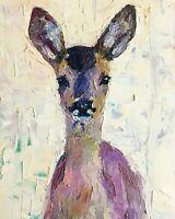 ORIGINAL Deer Painting - Doe Stag Countryside British Art Original Presale