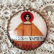 "VOTES FOR WOMEN ~ Glass Dome Filigree BUTTON 1 1/4"" ~ Vintage SUFFRAGETTE PIN"