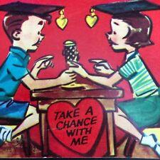 Valentines Day Card Radio Million Dollar Question Die Cut Graduate Vtg 1940s 50s