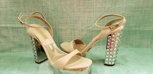 Michael Kors Cream & Silver Jewel Sandal Platform  Evening Formal 9.5M NWOB