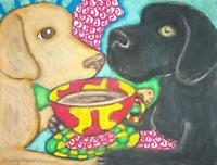 Labrador Retriever Collectible Dog Pop Art Print 4x6 Artist Signed KSams Coffee