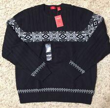NWT IZOD Mens Nordic Snowflake Fine Gauge Stripe Crew Sweater $98 retail Black