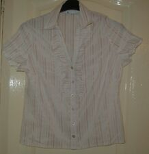 A  LOVELY BHS SHORT SLEEVE  WOMENS CREAM MULTI SHIRT  UK SIZE 16