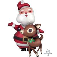 LARGE SANTA & REINDEER AIRWALKER FOIL BALLOON CHRISTMAS PARTY DECORATION 121CM