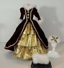 BARBIE DOLL VICTORIAN DRESS WITH HAT AND HAND MUFFS, CLOTHES, CLOTHING
