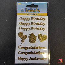 Sheet of Gold Foil Occasions Stickers Happy Birthday Card Congratulations Craft