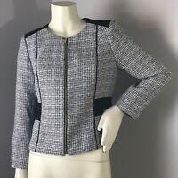 Calvin Klein Black White Tweed Zip Front Blazer Size 8P