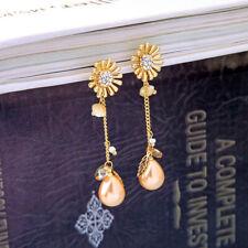 Gold Betsey Johnson Crystal Pearl Flower Dangle Earrings Long Girl Fashion Jewel