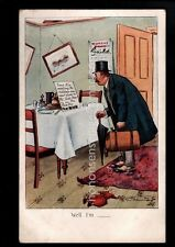 "SUFFRAGETTE SUFFRAGE ""Well I'm ....."" Man Stares At Note On Table PC 1908 SU07"