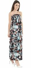 Ladies Floral Print Sheering Gather Boobtube Bandeau Strapless Maxi Dress 8-22