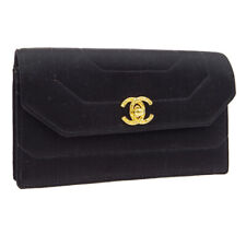 CHANEL CC Logos Clutch Hand Bag Pouch 2644975 Purse Black Satin Vintage S09305a