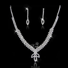 Fashion European Style Bridal Wedding Party Crystal Necklace Earring Jewelry Set