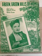 """""""Green, Green Hills of Home"""" Vintage Sheet Music, Joan Brooks on cover"""