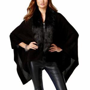 INC Women's Faux-fur-trim Hi-lo Open-front Pocho Cardigan Sweater Top S/M TEDO