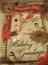 13x18 Double Sided Holiday Greetings Cardinal With Birdhouse Garden Flag