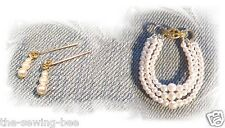 3 Strand Pearl Graduated Necklace & Earrings for Barbie Doll Jewelry