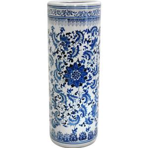 Floral Blue Umbrella Stand 24 in White Porcelain Holder Home Antique Design
