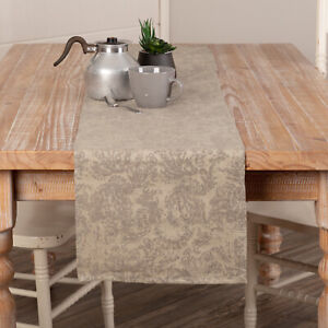 """VHC Brands Farmhouse 13""""x72"""" Table Runner Tan Distressed / Kitchen Table Decor"""