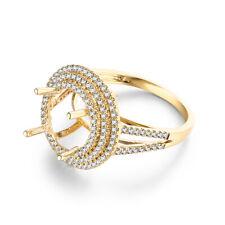 10K Yellow Gold Semi Mount Round 8.5mm to 9.5mm Diamond Wedding Luxurious Ring