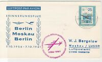 DDR 1961 Berlin-Moscow 5 Years Plane Lufthansa Slogan Stamps Cover Ref 26640