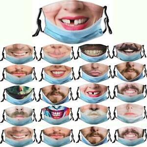 Funny and realistic men and women face Washable Reusable Facemask Funny Face