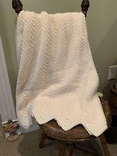 """Vintage Knitted Crochet Beige/Cream/Ivory Afghan~Blanket~Bedspread~Throw 65""""x45"""""""