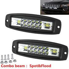 "2x 7""Inch Flush Mount LED Work Light Bar Spot Flood Combo Pods OffRoad Truck 4WD"