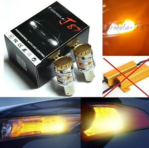 Hyper Flash Free LED Light PY21W Amber Orange Two Bulbs Rear Turn Signal Replace