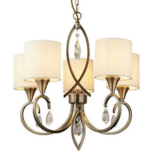 Searchlight Alberto 5 Lights Antique Brass Crystal Drops Ceiling Pendant Light