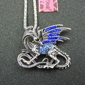 Women's Blue Crystal Enamel Dragon Pendant Betsey Johnson Necklace Gift