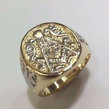 14 k Yellow Gold and white Rhodium  Masonic  Men ring  Made in the USA