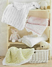 "Baby blankets knitting pattern ""pom pom"" yarn and DK NOT the actual blankets 198"