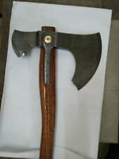 A MEDIEVAL CUSTOM HAND FORGED DAMASCUS SPECIAL MOSAIC PIN TOMAHAWK AXE AX0007
