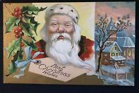 Santa Claus with Holly~Church Scene~Antique Christmas Postcard~s629