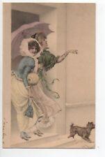 Theme carte illustrateur R.R. WICHERA M.M. Vienne femmes chapeaux chien paraplui