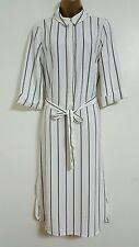 NEW Ex M&S Size 14 White Black Striped Shirt Dress Smart Formal Work Midi