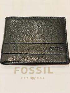 Fossil Lufkin Bifold Black + Tin